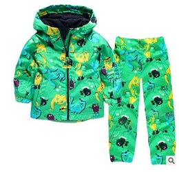 Wholesale Boys Hooded Raincoat - Boys Clothes Set Kids Clothes Dinosaur Raincoat Jacket+Pants Boys Sport Suit 2017 Spring Girls Clothes Children Clothing Set