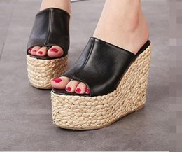 Wholesale Princess Applique Sew - Wedge Sandals Slippers Summer Waterproof Straw Women High Heels shoes Korea Princess Nightclub party sexy sandals slippers 34-39