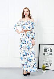 Wholesale Wholesale Islamic Dresses - 2016 spring bursts of money printed small floral long sleeves word long collar belt Islamic Muslim dress