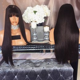 african american lace front wigs bangs Promo Codes - African American Synthetic Lace Front Wig With Bangs Straight Lace Front Wigs For Black Women Female Wig Glueless Front Lace Wig