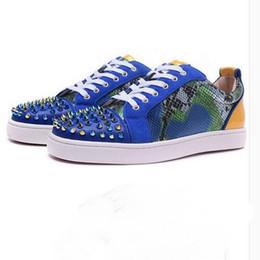 Wholesale Snake Skin Men Shoes - 2017 New Men Women Low Top Blue Snake Skin LOU Luis Spike Flats Red Bottom Sneakers Junior Skateboard Shoes Women Casual Sports Shoes 35-46