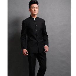 Wholesale chinese high collar jacket - Wholesale- Chinese wind stand collar the groom suit high quality wedding dress chic handsome two-piece suit (jacket + pants)