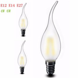 Wholesale E14 Led Dimmable Frosted - Dimmable 4W 6W Frosted Glass E12 E14 E27 Lamp base Bent Tip Led Filament Candle light bulb Ra>80 AC110- 240V filament candle lights