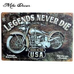 Wholesale Art Legend - Wholesale- [ Mike86 ] New Legends Never DIE Motor Painting Wall art Signs Poster Craft Bar Decorative AA-89 Mix order 20*30 CM