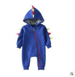 Wholesale Hooded Fleece Romper - Dinosaur Onesie Newborn Infant Baby Boys Girls WARM Dinosaur Hooded Romper Winter Clothes For Boy Fleece Thick Jumpsuit Clothes