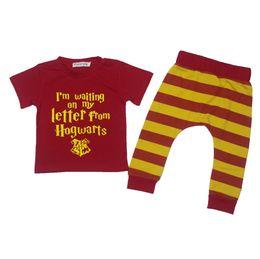Wholesale Organic Babies - Hot sale!! infant baby summer sets baby harry potter red suit 0-2y baby letter top+stripe pants 2pcs suit kid's clothes