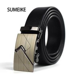 Wholesale Wholesale Leather Belts For Men - Wholesale- New Designer Luxury Leather Belt Plain Automatic Buckle Simple Casual Belts Suit Pants for Man Long Size 110CM-130CM