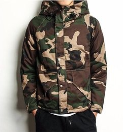 Wholesale Hooded Frock Coat - Wholesale- Fashion winter Camouflage tops male Army fans Stand collar Hooded Frock coat Overcoat Thick warm windproof pocket Down jacket