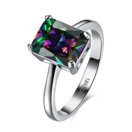 Wholesale Rectangle Crystal Ring - Rectangle Rainbow Fire Mystic Crystal Rings For Women Vintage Silver Color Midi Ring Fashion Party Jewelry Wholesale R086