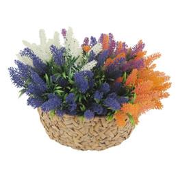 Wholesale Home Decor Silk Flower Arrangements - Artificial Flocked Lavender Bouquet with 4 Colour Flowers Arrangements Bridal Home DIY Table Flowers Garden Office Wedding Decor 125 -1080