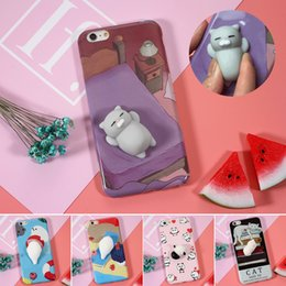 Wholesale Silicone 3d Cases - Squishi Phone Case for iPhone 7 7 plus 3D Cute Soft Silicone Pappy Squishy Cat for i6 6s plus Kitty Cover Housing Coque