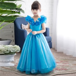 Wholesale Costume Made Dresses - In Stock Flower Girl Dresses New Movie Cosplay Costume Fairy Cinderella Princess Fancy Bows Real Image Custom Made Cute Little Girl Dress