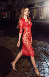 Wholesale Slim Cocktail Dresses - Pretty Red Applique Lace 2017 New Evening Dresses With Half Sleeves Knee Length Short Cocktail Party Dress Sheath Slim Guest Gowns