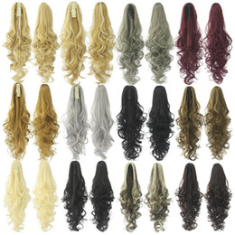 "Wholesale claw clip synthetic ponytail - Wholesale- New 22"" 150g Synthetic Claw Ponytail Clip In On Hair Extension Wavy Curly Style Hair Pieces 14 Colors Ponytails Free shipping"