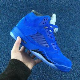 Wholesale Suits 3m - Retro 5 Flight Suit East mens basketball shoes Blue Suede + 3M tongue outdoor athletic footwear 5 sneaker