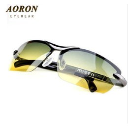 Wholesale Wholesale Night Sights - Wholesale-AORON Day & Night Vison Multifunction Men's Polarized Sunglasses Reduce Glare Driving Sun Glass Goggles Eyewear de sol