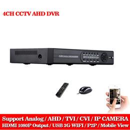 Wholesale onvif camera recorder - AHD-NH DVR 4 channel HDMI 1080P 960P 720P 4ch Hybrid AHD DVR HVR NVR Onvif for security ip camera P2P function CCTV DVR Recorder
