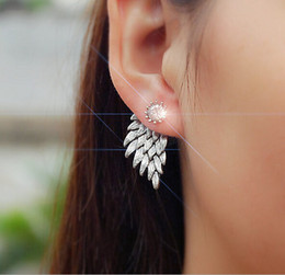 Wholesale Feather Diamond Earrings - Retro Stereo Angel Wings stud Earrings Feathers crystal Diamond Duct stud Earrings wholesale free shipping