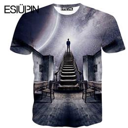 Wholesale Printer Cartoon - Wholesale- ESIUPIN Fashion brand clothing mens wear T-shirt Men short-sleeved Cartoon art Mens T-shirts 3d printer men t shirts YP26.8