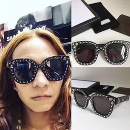 Wholesale Women Top Stars - 0116S Star Diamond On Frame Top Quality 0116 Square Luxury Brand Women Designer Fashion Style Website Synchronous Sunglasses Free Ship