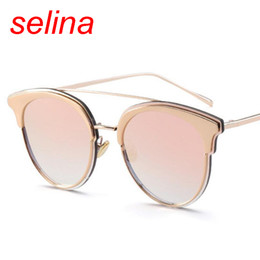 Wholesale Newest Designing Sunglasses - 2017 newest luxury brand design Cat Eye Sunglasses for women Coating Reflective Mirror Glasses Female Shades Fashion flat top sun glass pink
