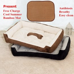 Wholesale Large Breed Cat - Large Breed 60x80cm Pets Beds House Plus Big Cushion Soft Dog House 15cm Thick Dog Sofa Cotton Pet Beds Pets Mats Cats Bed Big Blanket