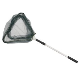 Wholesale Landing Nets - Triangular Folding Fishing Landing Net Aluminum 3 Section Extending Pole Handle green free shipping hot sell