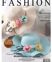 Wholesale Sunshade Caps - Fashion Girls Straw Hats Summer kids stereo flower sunshade Lovely Children Sun Hat for girls and women Parent-Child Beach Caps R0808