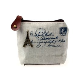 Wholesale Cheapest Purses - Ladies Canvas Classic Retro Small Change Coin Purse Little Key Car Pouch Money Bag Cheapest Girl's Mini Short Coin Holder Wallet