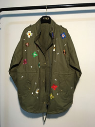 Wholesale Over Coat Jacket - Wholesale- Floral Embroidery jacket coat 2017 spring green black belt slim jackets women loose outwear over size