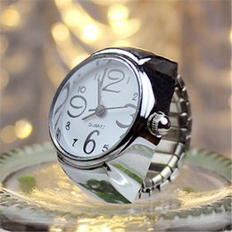 Wholesale Silver Ring Free Dhl - finger ring watch for Women Men elastic band Dial Analog Quartz Watch womens mens men's watches wholesale DHL free shipping