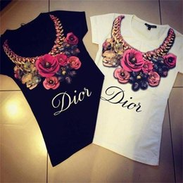 Wholesale Letter T Necklace - Wholesale- t shirt women Harajuku 2016 Necklace Flower 3D Letter Printed T-shirt Female Hot Sale O-neck Short Sleeves Slim tshirt Tee Tops