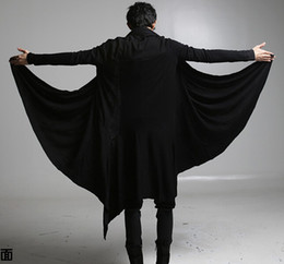 Wholesale Gothic For Men - 2017 new cool punk gothic t shirts men long sleeve loose black color for halloween costumes Cape cape long coat Cardigan jacket