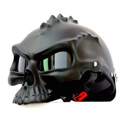Wholesale Used Half - Wholesale- Masei 7 color 489 Dual Use Skull Motorcycle Helmet Capacete Casco Novelty Retro Casque Motorbike Half Face Helmet free shipping
