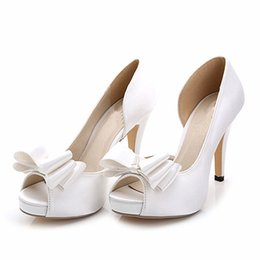 Wholesale High Heel Ivory Lace Shoes - New fashion silk satin white ivory bow Wedding Shoes open toe heels women Bridal shoes