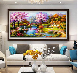 2019 impressionismo pintura a óleo Sala de estar quarto diamante Diamante bordado pintura 5d casa de sonho cottage DIY broca noiron diamante pintura Europeia