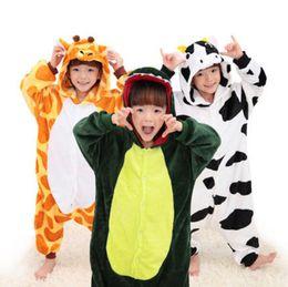 Wholesale Girls Nightgown Sets - Cute Cartoon Baby Boys Girls Panda Children pajamas Flannel Animal Pajamas Kid Pajama sets Onesies Girl sleepwear Clothing