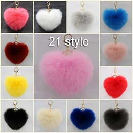 Wholesale Gold Ring Purple Diamond - Free DHL Hear Shape Fur Ball Pom Keychain For Car Ring Handbag Charm Pendant 21 Color 12cm Key Ring Chain Women Gift C133L