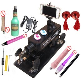 Wholesale Masturbation Dildo Toys - Automatic Electric Telescopic Gun Cannon adult toy sex machine with Male Masturbation Cup and Big Dildo Sex Toys