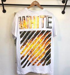 Wholesale Designer Men S T Shirt - 2017 Wholesale clothing off Men's T-Shirts white flame hip hop clothing Cartoon patch mens designer shirts plus size black white
