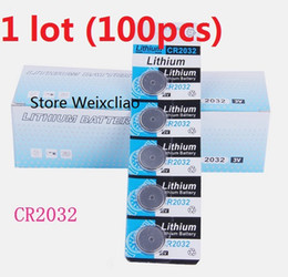 Wholesale Wholesale Lithium Ion Batteries - 100pcs 1 lot CR2032 3V lithium li ion button cell battery CR 2032 3 Volt li-ion coin batteries card Free Shipping