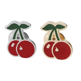 Wholesale African American Wedding Dresses - Trendy Women Fruit Red Cherry Button Enamel Brooch Corsage Dress Hats Scarf Clips Pin Wedding Party Jewelry Badge zj-0904505