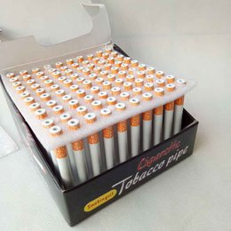 Wholesale Snuff Aluminum - 100 Pcs lot 78mm&55mm Cigarette Shape Smoking Pipes Mini Hand Tobacco Pipes Snuff tube Aluminum Smoking Accessories Dabbers Bubblers Bowl