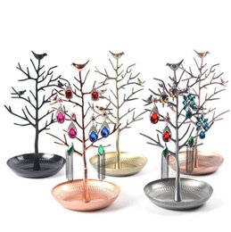Wholesale Metal Display Tree Wholesale - Antique Birds Tree Stand Jewelry Display Necklace Earring Bracelet Ring Show Rack Holder jewelry holder