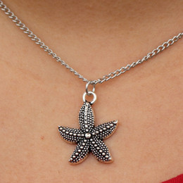 Wholesale Vintage Silver Chain Necklace - Wholesale- collier Hot Collares New Men Love Vintage Silver Plated Starfish Pendant Necklace For Women Colar Jewelry Statement Chain NK989