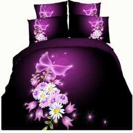 Wholesale Purple Butterfly Queen - 5 Styles Purple Butterfly Galaxy 3D Printed Bedding Sets Fabric CottonTwin Full Queen King Size Dovet Covers Set Pillowcase Comforter Animal