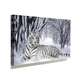 Wholesale Tiger Canvas Art - 1 Panels White Tiger Painting Home Decor Wall Art Picture Digital Art Print Canvas Printed Picture for Living Room
