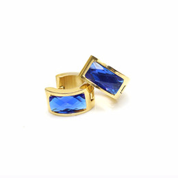 Wholesale Fashion Earrings Gold Ring - Fashion jewelry trendy stainless steel rhinestones hoop crystal stud earrings for women 1pair beautiful ear rings gift free shipping