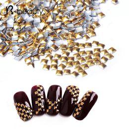 Wholesale Nails Accessories 3d Metal - Wholesale- Square Gold DIY 3D Metal Nail Art Decorations 1000pcs lot Rhinestone Metallic Nail Accessories,Gold Nail Studs,Manicure Tools