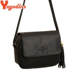 Wholesale Hot Bags Store - Wholesale-Hanna Store Solid color Small package portable bag women tassel messenger bag female shoulder bags hot sale faux leather bag